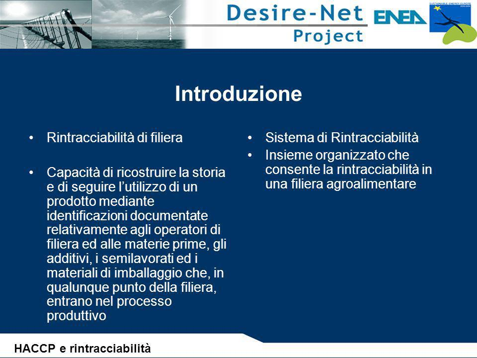 Introduzione Rintracciabilità di filiera