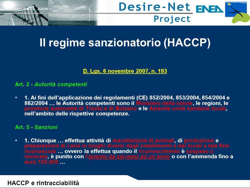 Il regime sanzionatorio (HACCP)