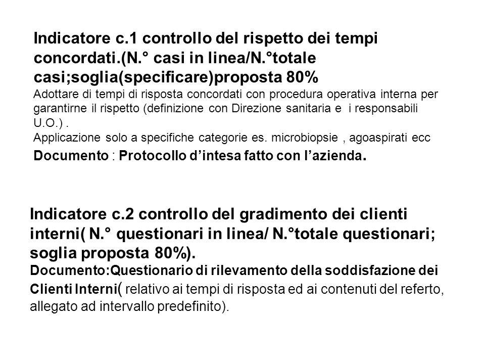 Indicatore c. 1 controllo del rispetto dei tempi concordati. (N