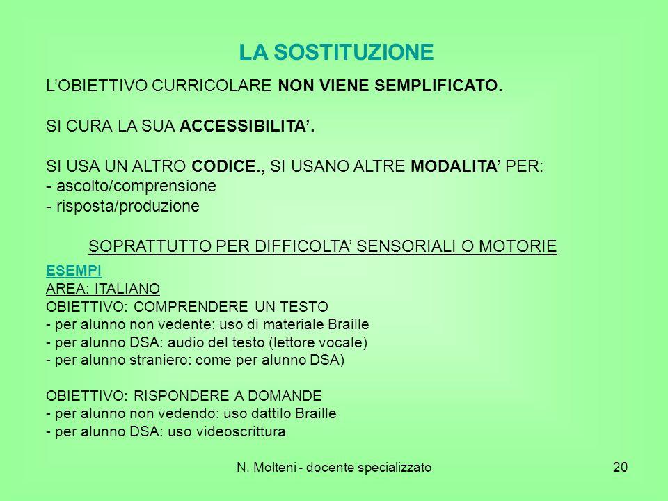 LA SOSTITUZIONE L'OBIETTIVO CURRICOLARE NON VIENE SEMPLIFICATO.
