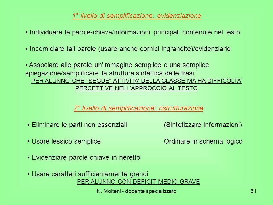 1° livello di semplificazione: evidenziazione