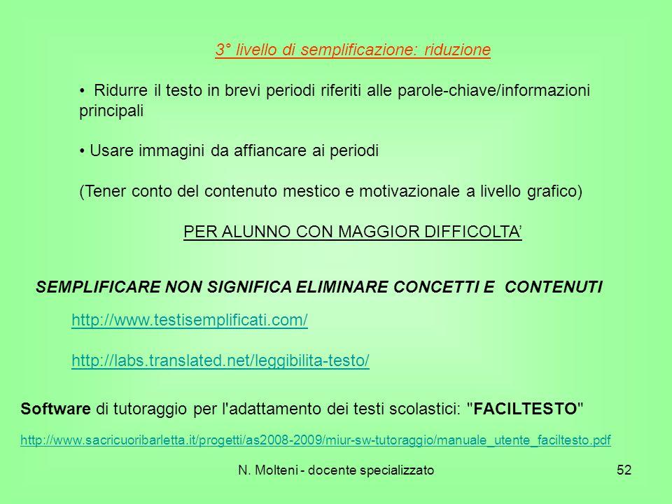 SEMPLIFICARE NON SIGNIFICA ELIMINARE CONCETTI E CONTENUTI
