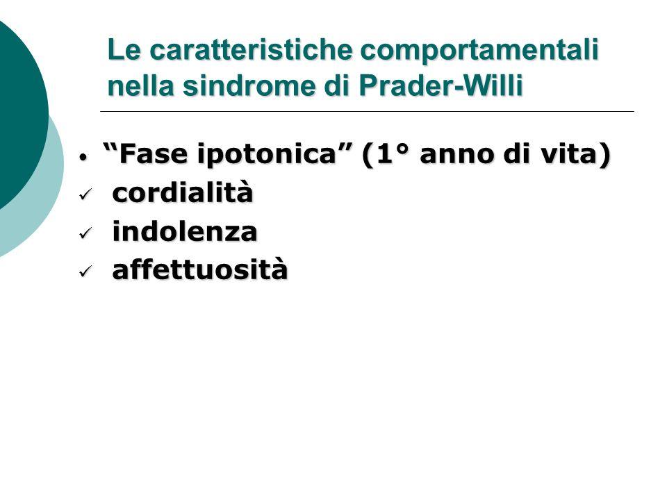 Le caratteristiche comportamentali nella sindrome di Prader-Willi