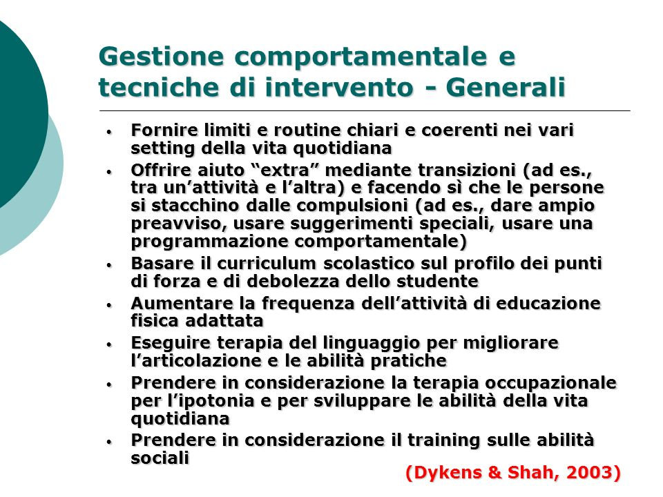 Gestione comportamentale e tecniche di intervento - Generali