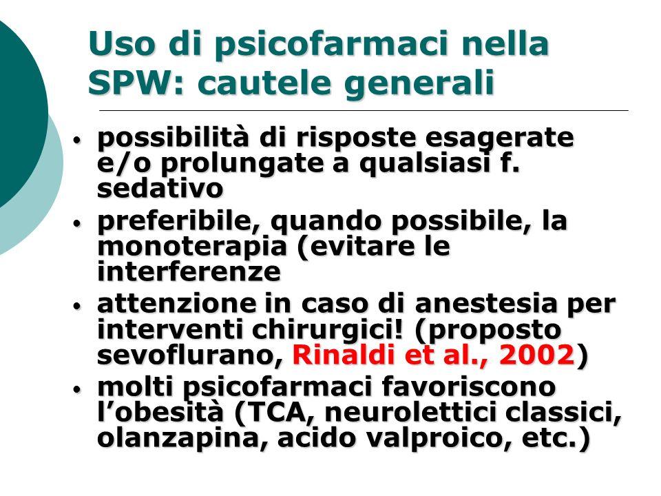 Uso di psicofarmaci nella SPW: cautele generali