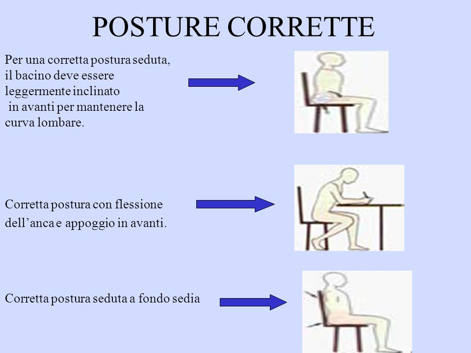 POSTURE CORRETTE Per una corretta postura seduta,