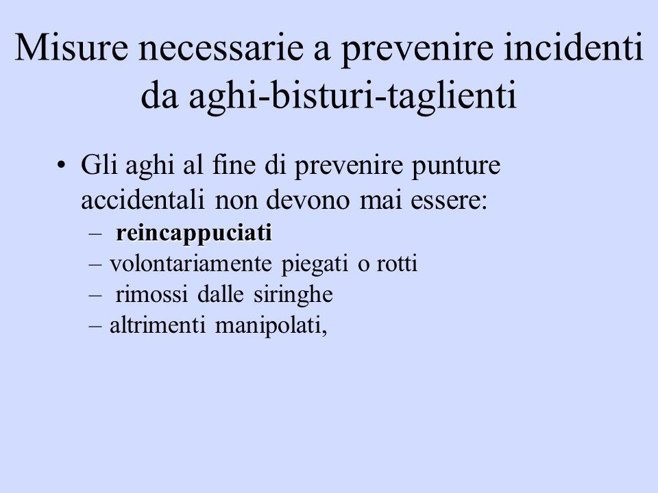 Misure necessarie a prevenire incidenti da aghi-bisturi-taglienti