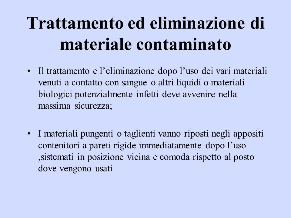 Trattamento ed eliminazione di materiale contaminato