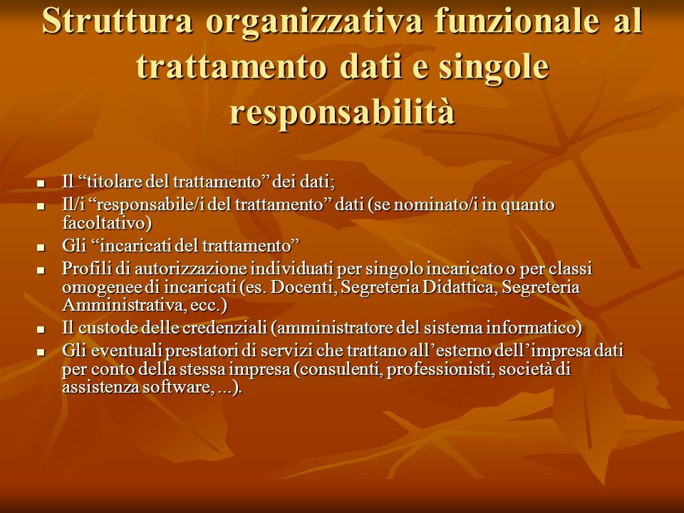 Struttura organizzativa funzionale al trattamento dati e singole responsabilità