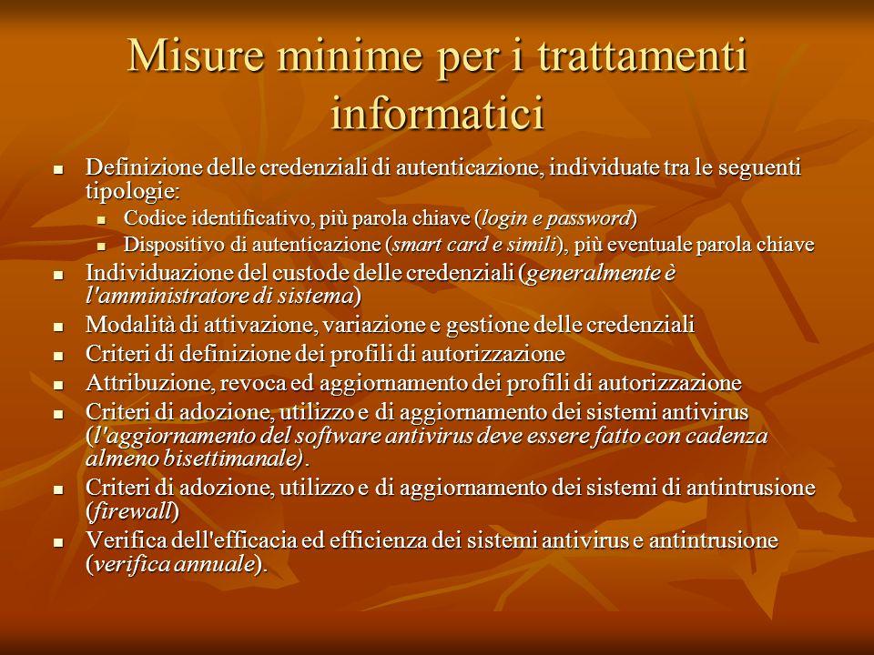 Misure minime per i trattamenti informatici