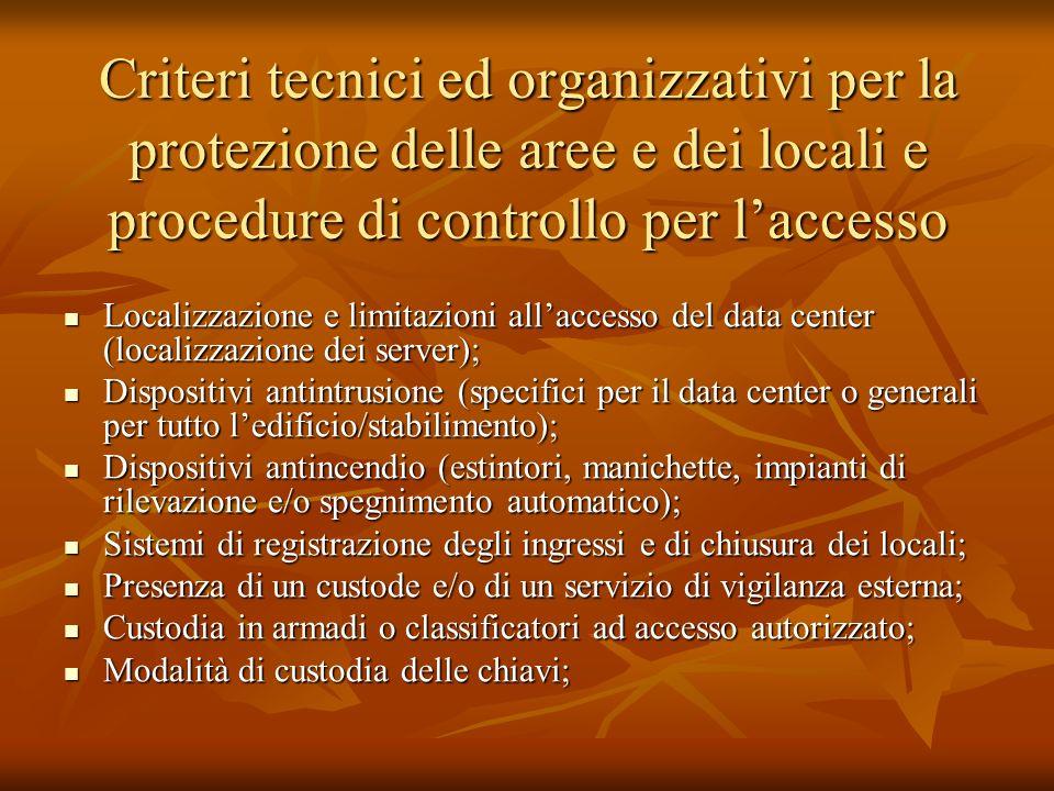 Criteri tecnici ed organizzativi per la protezione delle aree e dei locali e procedure di controllo per l'accesso