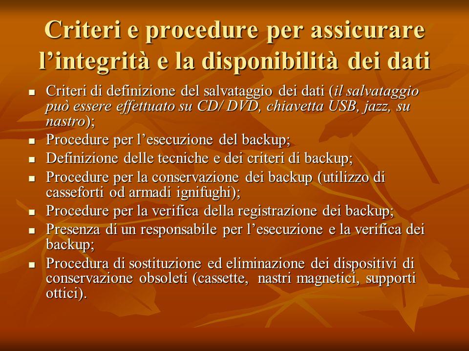 Criteri e procedure per assicurare l'integrità e la disponibilità dei dati