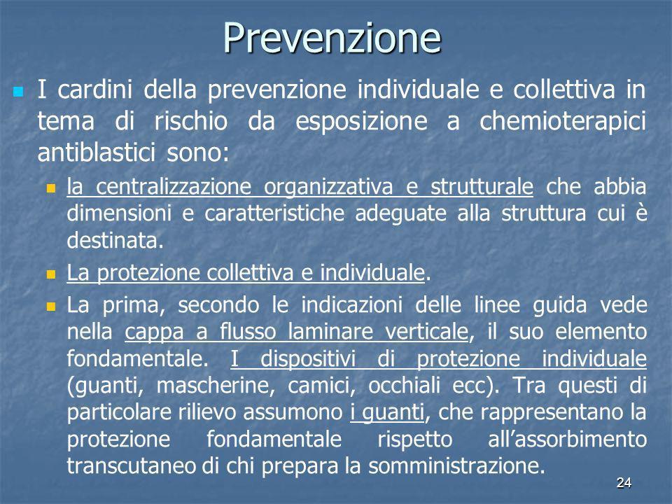 Prevenzione I cardini della prevenzione individuale e collettiva in tema di rischio da esposizione a chemioterapici antiblastici sono: