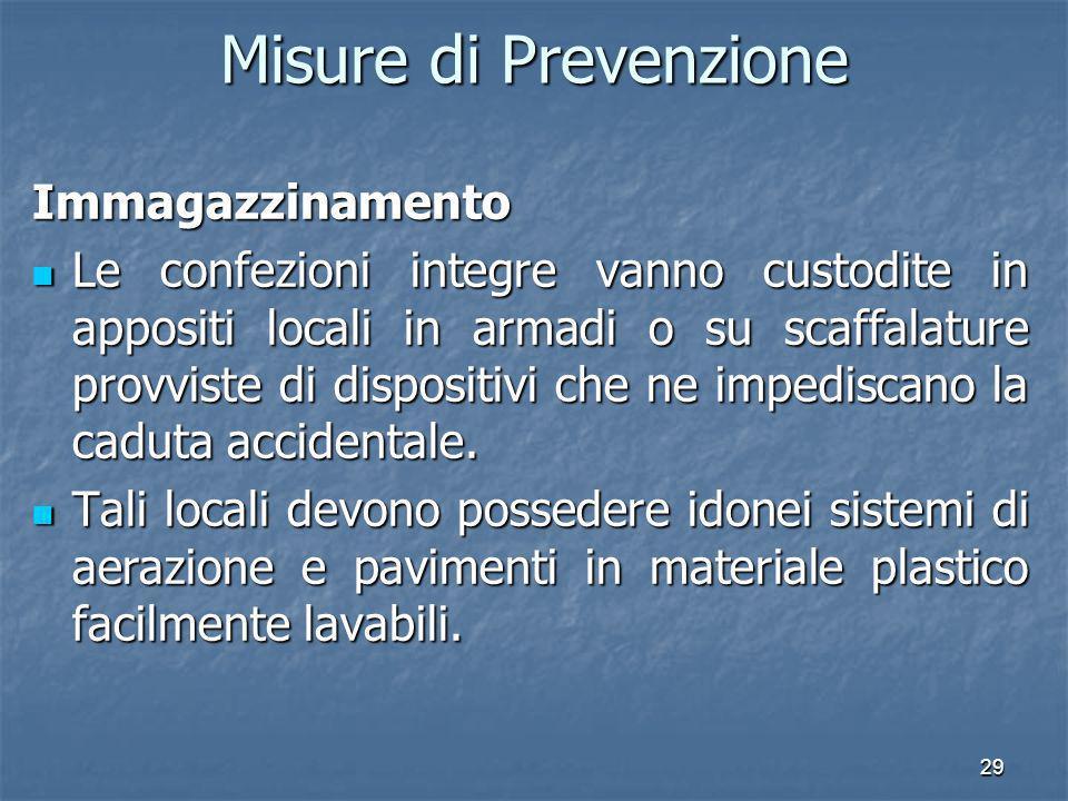 Misure di Prevenzione Immagazzinamento