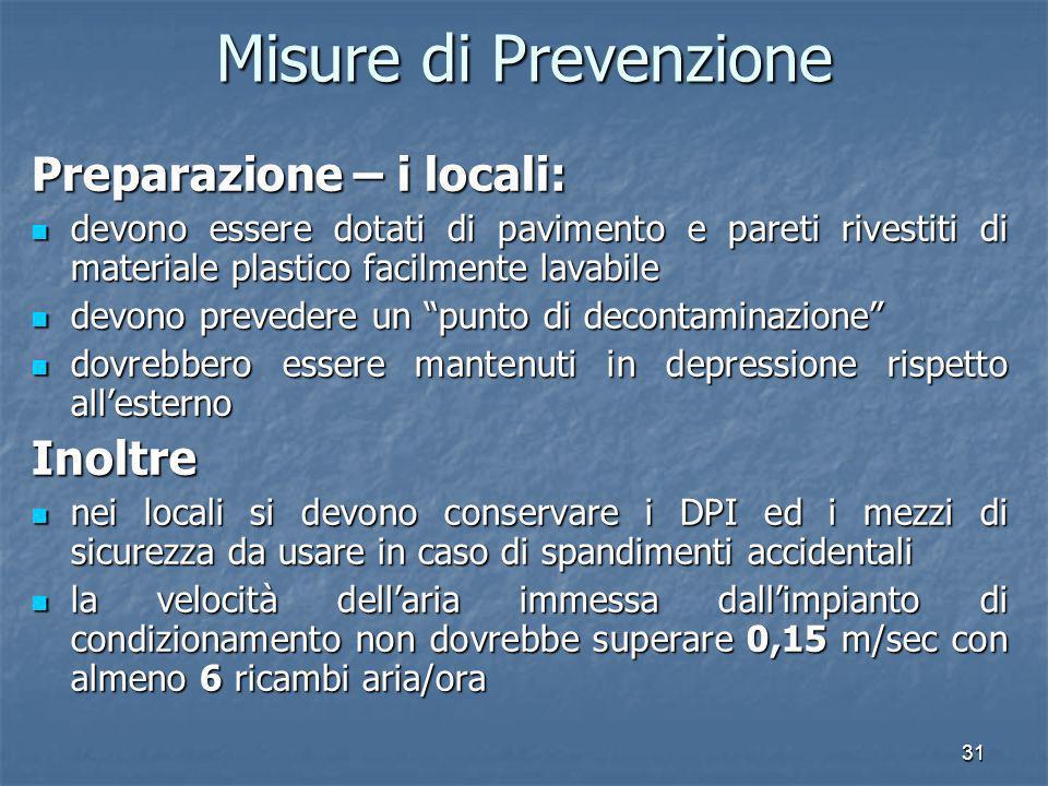 Misure di Prevenzione Preparazione – i locali: Inoltre