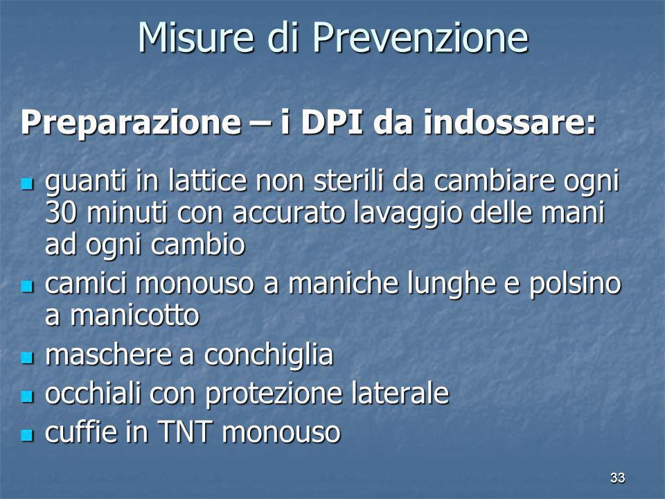 Misure di Prevenzione Preparazione – i DPI da indossare:
