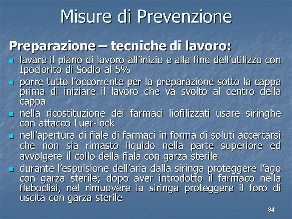 Misure di Prevenzione Preparazione – tecniche di lavoro:
