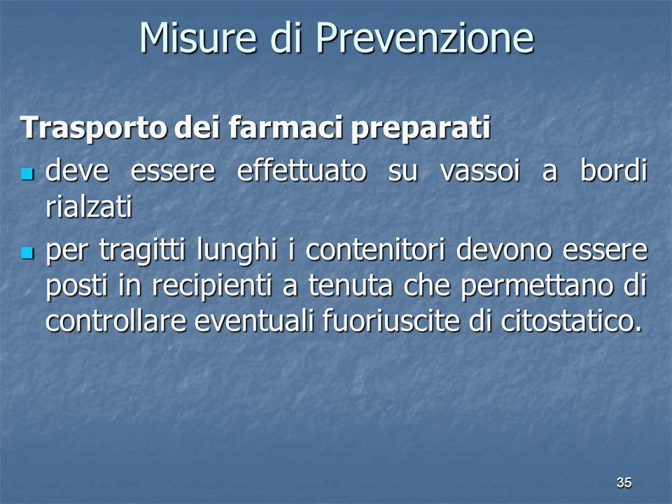 Misure di Prevenzione Trasporto dei farmaci preparati
