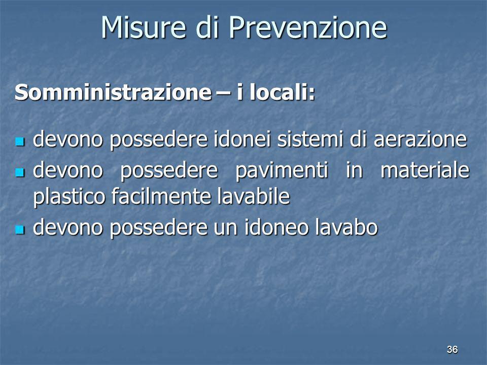 Misure di Prevenzione Somministrazione – i locali: