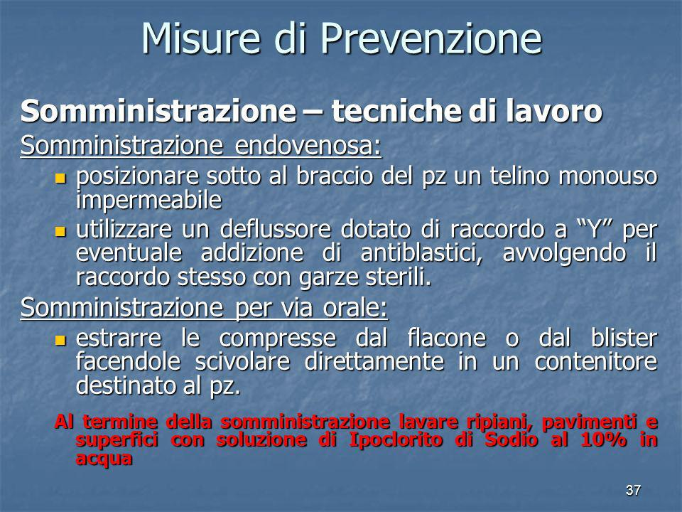 Misure di Prevenzione Somministrazione – tecniche di lavoro