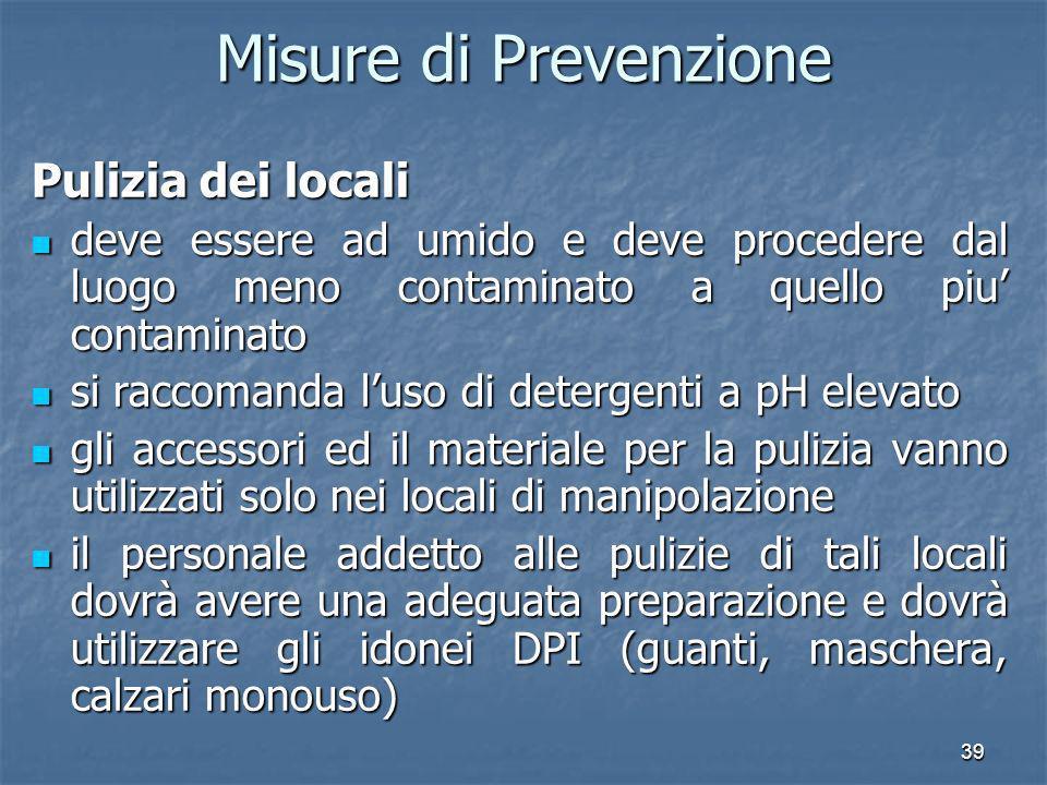 Misure di Prevenzione Pulizia dei locali