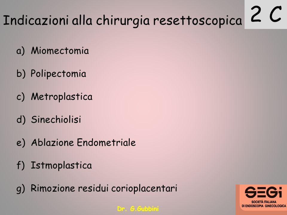 2 C Indicazioni alla chirurgia resettoscopica Miomectomia Polipectomia