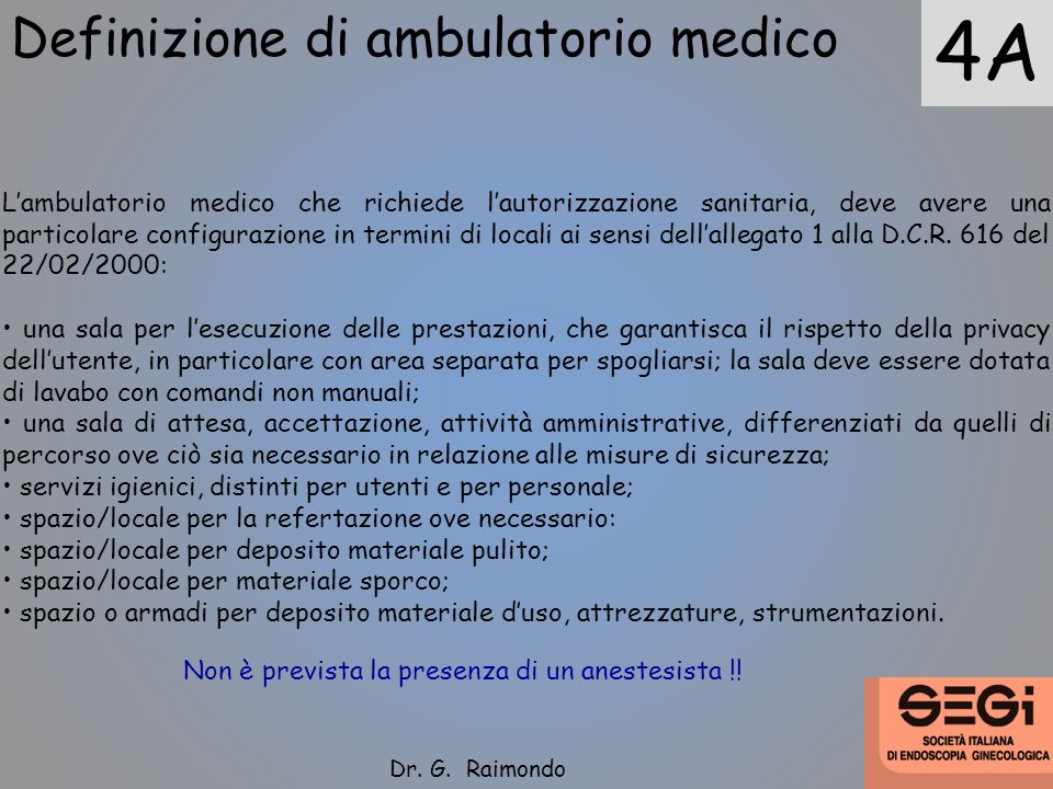 4A Definizione di ambulatorio medico