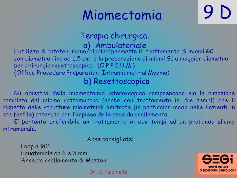 9 D Miomectomia Terapia chirurgica: Ambulatoriale b) Resettoscopica