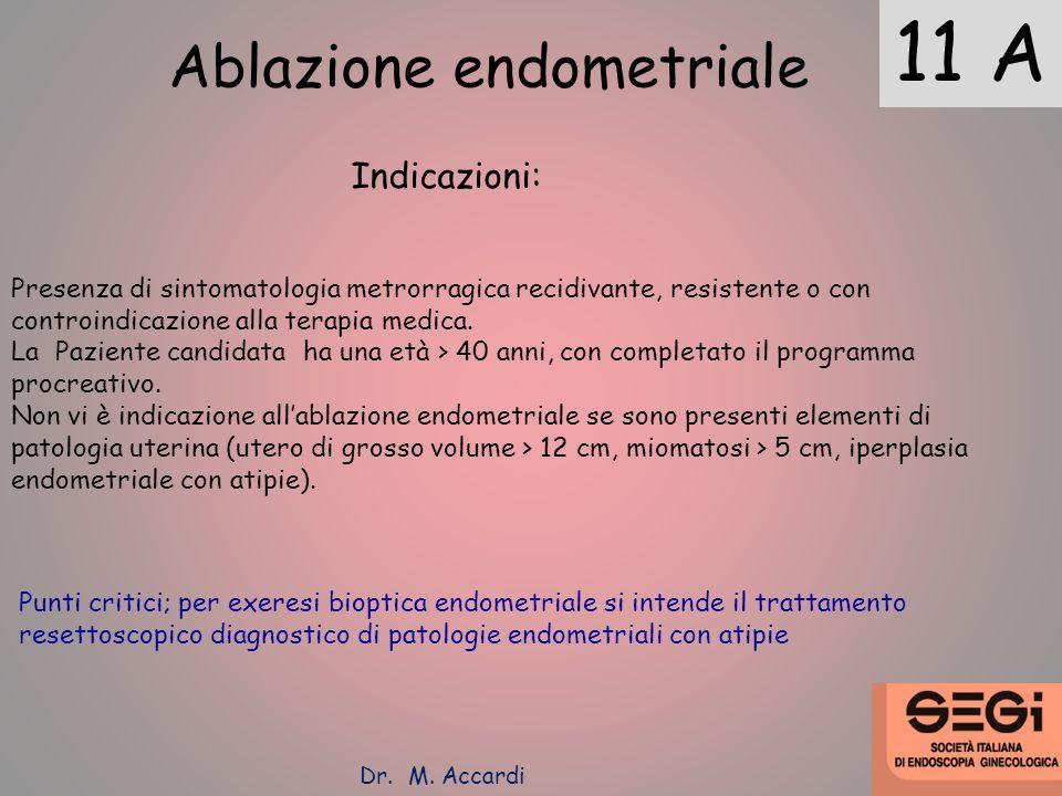 11 A Ablazione endometriale Indicazioni: