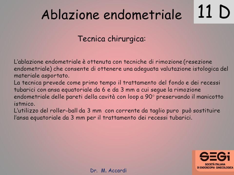 11 D Ablazione endometriale Tecnica chirurgica: