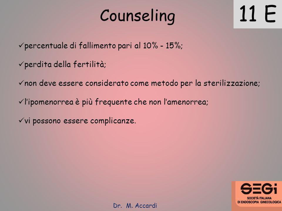 11 E Counseling percentuale di fallimento pari al 10% - 15%;