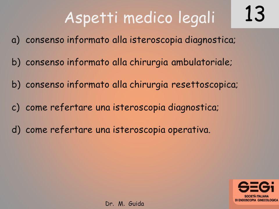 13 12. Aspetti medico legali. consenso informato alla isteroscopia diagnostica; consenso informato alla chirurgia ambulatoriale;