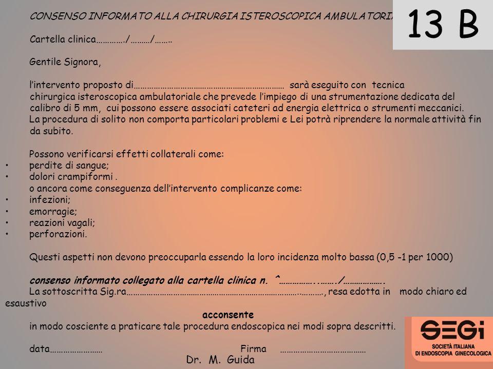 CONSENSO INFORMATO ALLA CHIRURGIA ISTEROSCOPICA AMBULATORIALE