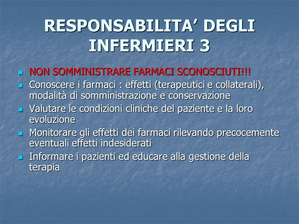 RESPONSABILITA' DEGLI INFERMIERI 3