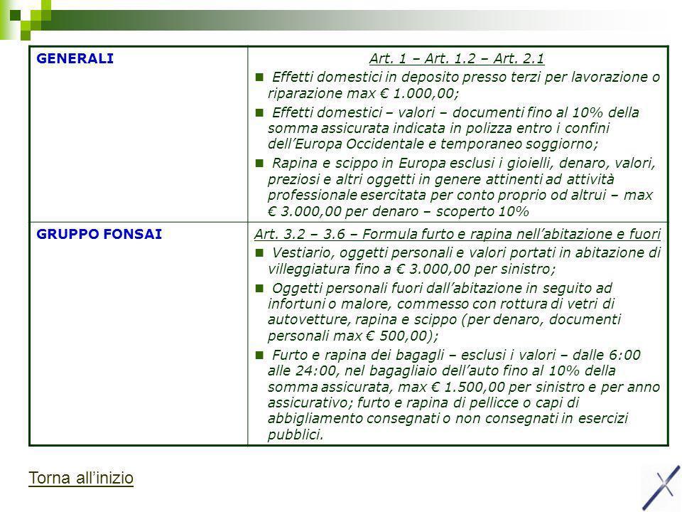Art. 3.2 – 3.6 – Formula furto e rapina nell'abitazione e fuori
