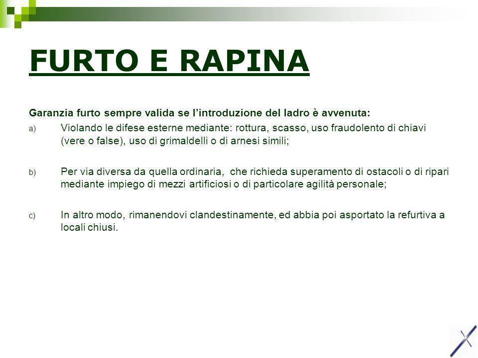 FURTO E RAPINA Garanzia furto sempre valida se l'introduzione del ladro è avvenuta: