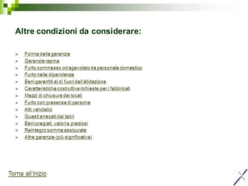 Altre condizioni da considerare: