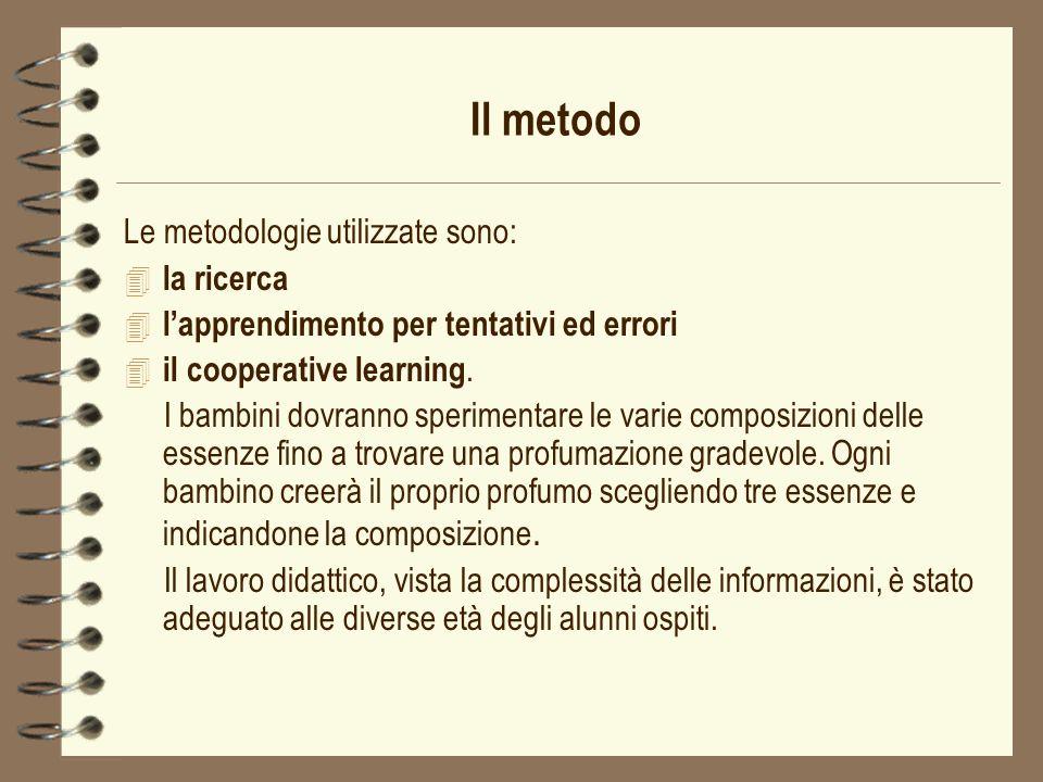 Il metodo Le metodologie utilizzate sono: la ricerca
