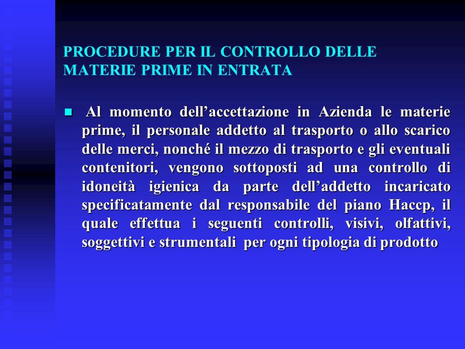 PROCEDURE PER IL CONTROLLO DELLE MATERIE PRIME IN ENTRATA