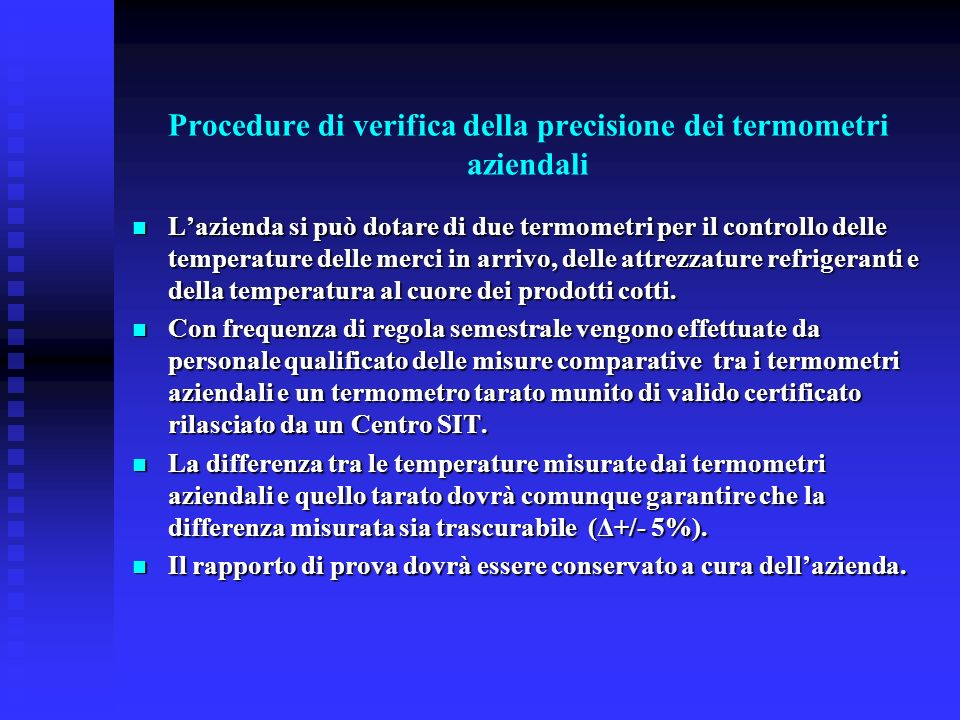 Procedure di verifica della precisione dei termometri aziendali
