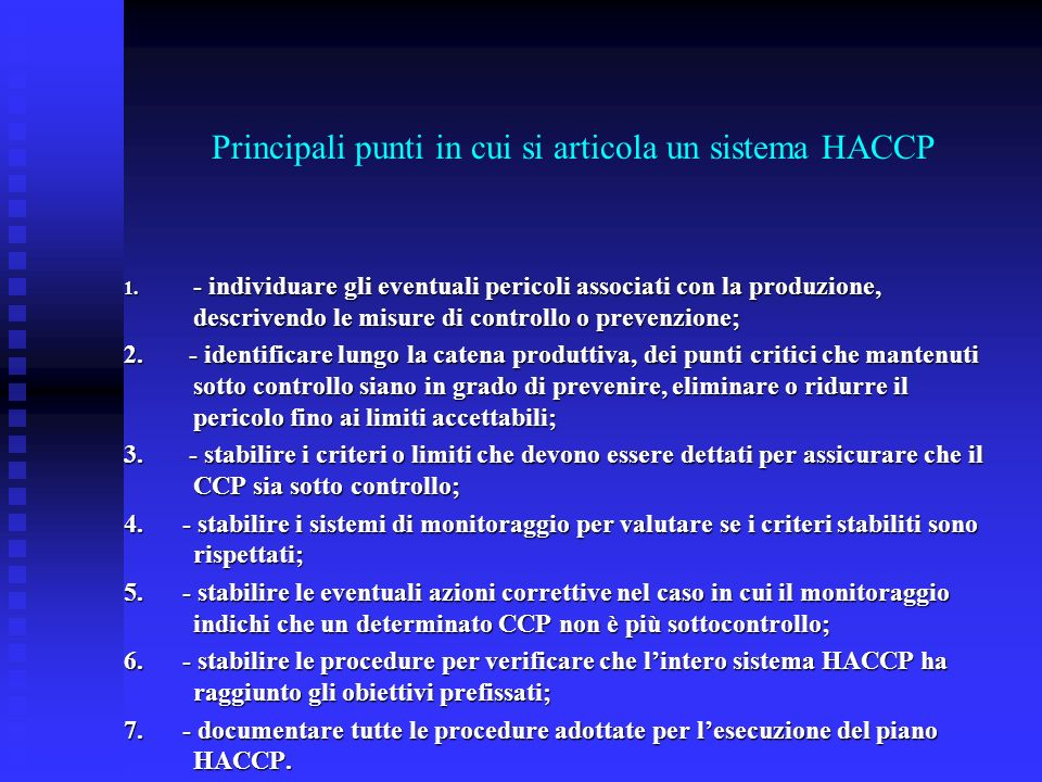Principali punti in cui si articola un sistema HACCP