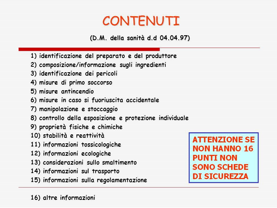 CONTENUTI (D.M. della sanità d.d 04.04.97)