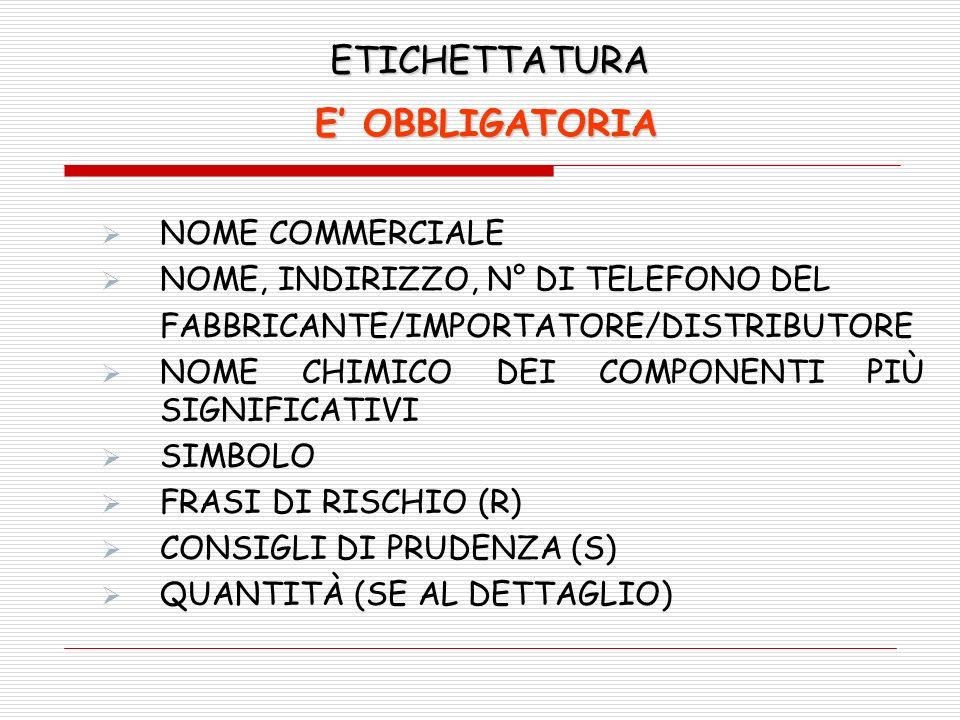 ETICHETTATURA E' OBBLIGATORIA NOME COMMERCIALE