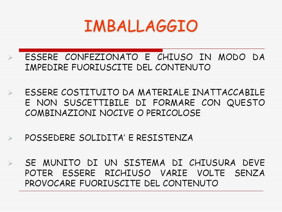 IMBALLAGGIO ESSERE CONFEZIONATO E CHIUSO IN MODO DA IMPEDIRE FUORIUSCITE DEL CONTENUTO.