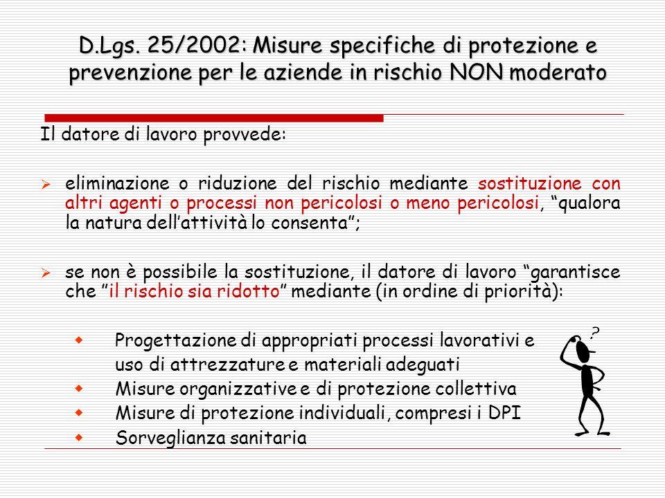 D.Lgs. 25/2002: Misure specifiche di protezione e