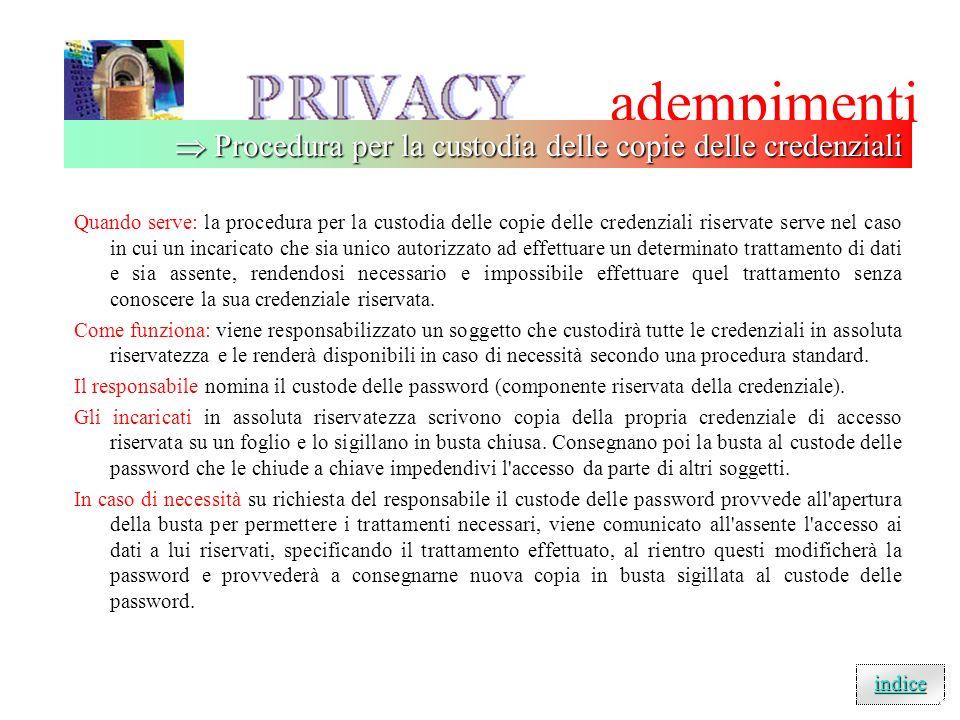 adempimenti  Procedura per la custodia delle copie delle credenziali