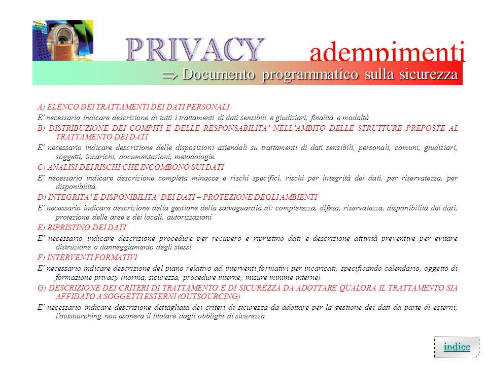 adempimenti  Documento programmatico sulla sicurezza indice