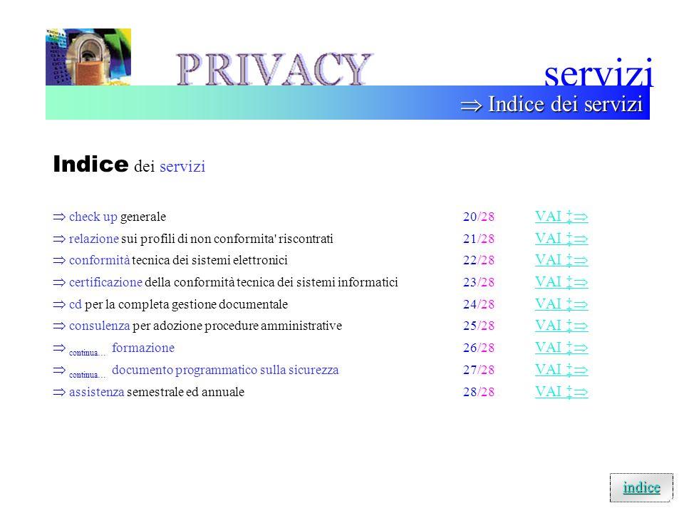servizi  Indice dei servizi Indice dei servizi indice