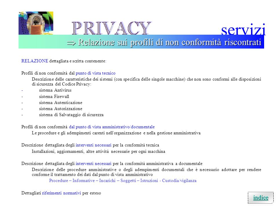 servizi  Relazione sui profili di non conformità riscontrati indice