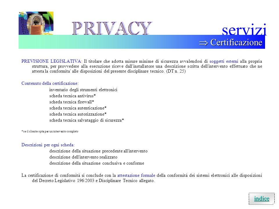 servizi  Certificazione indice